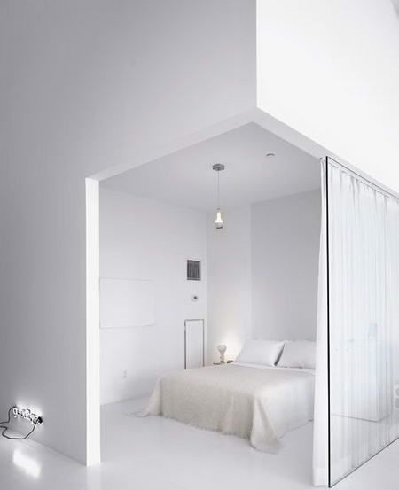 ♂ minimalist design bedroom white olivier renaud clement long island ny white castle loft 3 White Castle