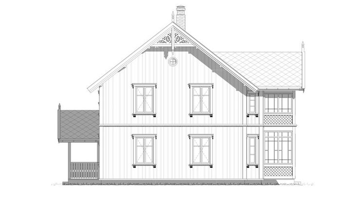 Fasade Svalen - et kataloghus i sveitserstil fra Norgeshus.