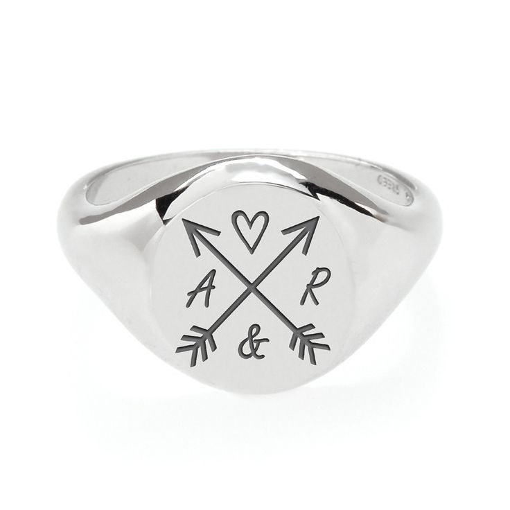 John Greed Star Crossed Lovers Personalised Silver Signet Ring | John Greed Jewellery