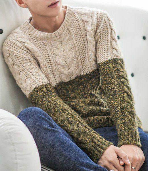 Slimming Trendy Round Neck Color Block Splicing Kink Design Long Sleeve Cotton Blend Sweater For Men
