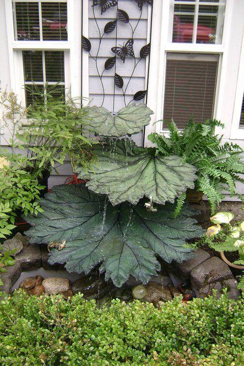 Concrete leaves fountain