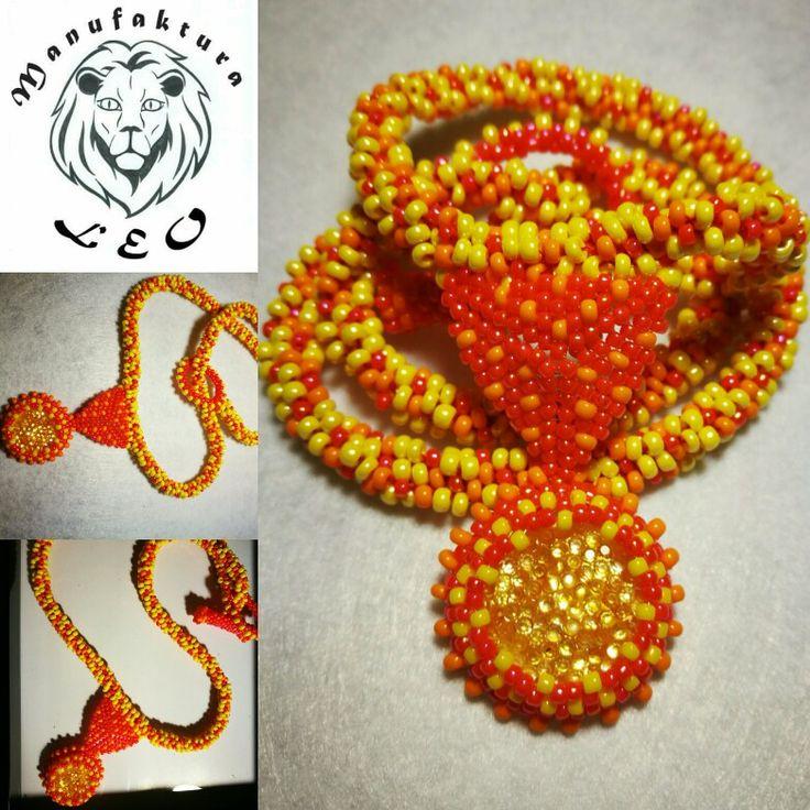 Necklace beads tequila sunrise by Manufaktura Leo @manufakturaleo