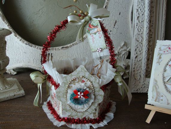 Christmas Gift wrap bag or basket paper mache by PaperAndMache