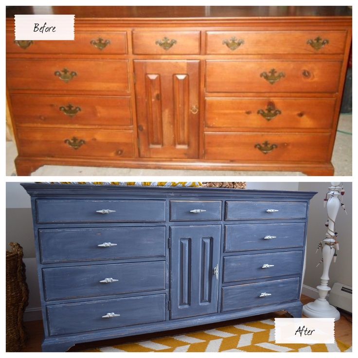 Refinished an old dresser to fit my son's nautical themed nursery. Base color is Benjamin Moore Hale Navy. I then distressed it with a heavy grit sandpaper and afterwards applied a combo of watered down Benjamin Moore Revere Pewter & Minwax Sunbleached stain with a lint-free rag. Authentic boat cleats as drawer hardware were the perfect finishing touch.