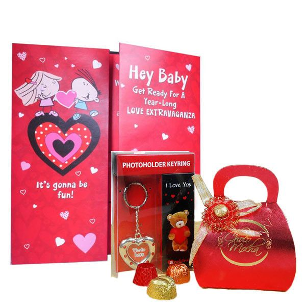 Valentine Day Hamper (Love Card & Chocolate's Combo) It's gonna be fun! Hey Baby Get Ready For A year-Long Love Extravaganza .In cold January, love warms the hearts n, I'll hold you close as the year starts.,Give this luscious choco mocha box and photo key ring to your girlfriend and surprise her on this Valentine's Day. Rs. 810 : Shop Now : http://hallmarkcards.co.in/collections/valentines-hampers/products/valentines-gifts-for-her-online
