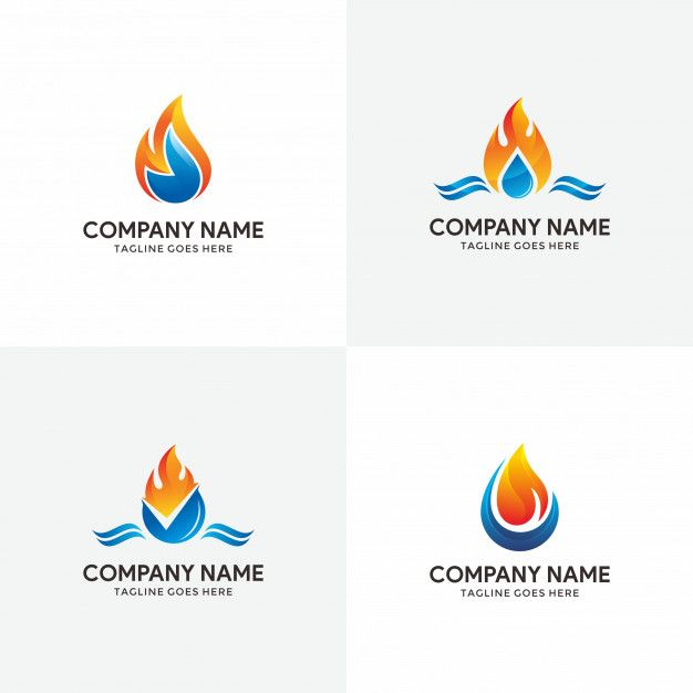 Abstract flame and water logo design template for your ...