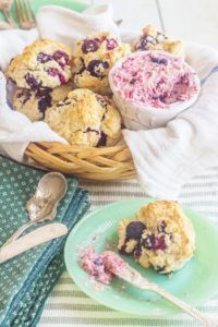 The perfect breakfast or Brunch item...Blueberry Cream Biscuits with Blueberry Lime Butter!
