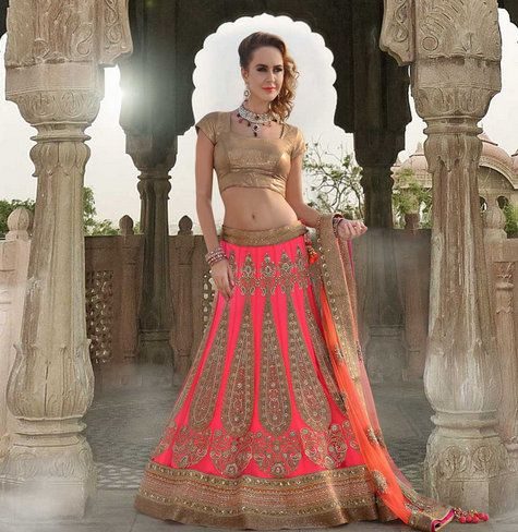 Pink coral and rust gold lehenga, perfect for morning wedding.