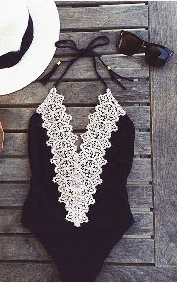 Lace bathing suit #bathingsuits #lace #black