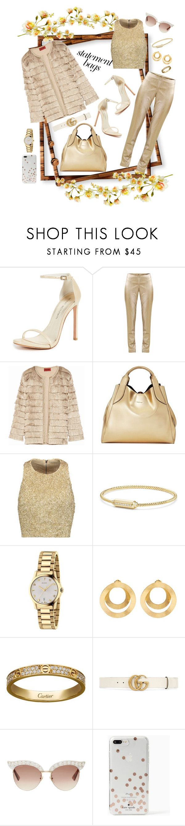 """""""StatementBags;love&gold"""" by verlacomplacencia ❤ liked on Polyvore featuring Stuart Weitzman, SEMICOUTURE, Missoni, Lanvin, Alice + Olivia, David Yurman, Gucci, Anissa Kermiche, Cartier and Kate Spade"""