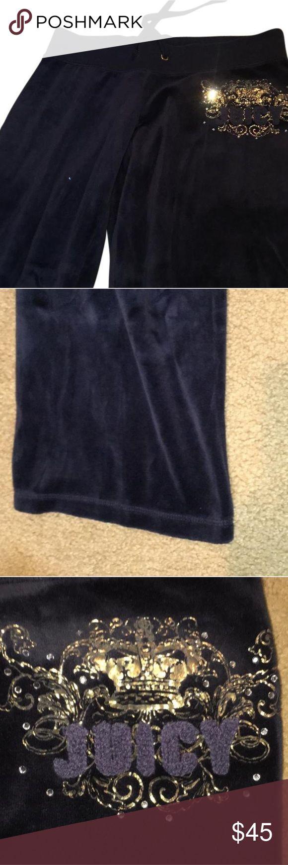 Juicy Couture Pants Juicy Couture Navy Blue velvet sweatsuit pants size P. perfect condition Juicy Couture Pants Straight Leg