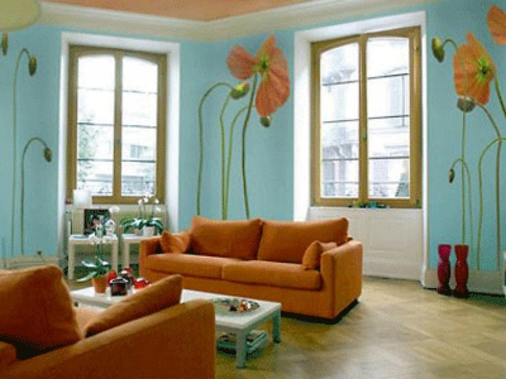 Sky Blue Wall Paint Color Fancy Living Room Decoration Ideas With Warm  Orange Fabric Sofa Furniture That Have Pillows Accessories And Beautiful  Flower ...