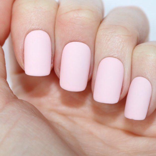 Natural Beautiful Short Nails Pink Nude Stock Image