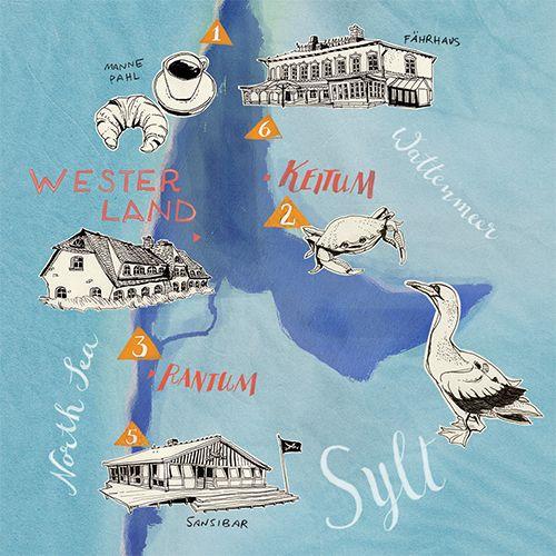 Sylt Landkarte / Map of Sylt island  von Theresa Grieben