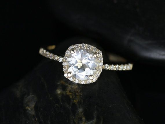 Barra Petite Size Version 14kt Yellow Gold Thin White Topaz Cushion Halo Engagement Ring (Other metals and stone options available) on Etsy, $690.00