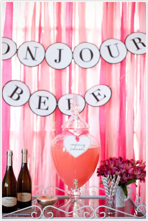 bonjour bebe, baby shower, garland, french inspired, raspberry lemonade, pinks
