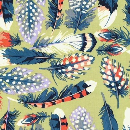 Martha Negley Farmington Collection Feathers, olive.: Plume