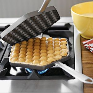 Nordic Ware Egg Waffle Pan.  This thing makes roll-up waffles you can stuff!