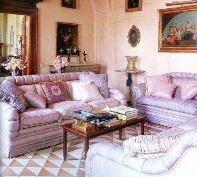 Donatella Versace's gorge lilac living room.