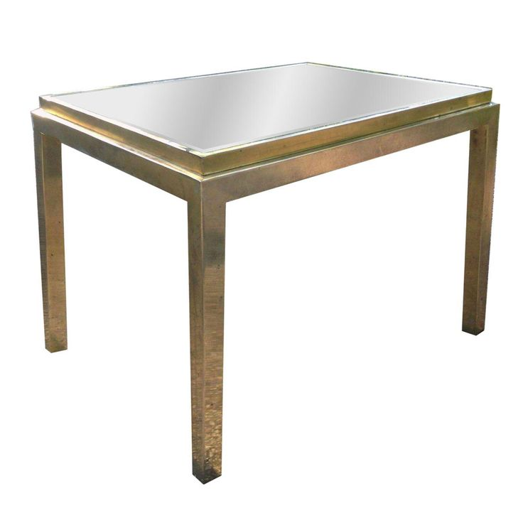 Maison Jansen Gilt Metal Mirrored Side Table on Chairish.com