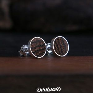 Bocote wood in stud earrings made of silver 925/1000 on donwood.cz