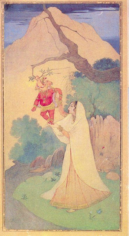 Kala Ksetram Ganesha Janaini, I don´t know the painter, but is bengali style #Parvati#bengal#hindu#hindu art#ganesha