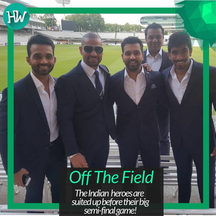 Ajinkya Rahane, Shikhar Dhawan, Rohit Sharma and Jasprit Bumrah are all suited up for an event by the Indian high commission. #CT17 #BANvIND #cricket