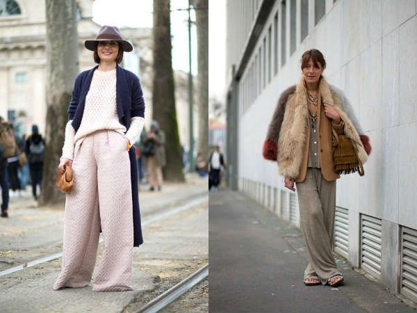 Уличная мода осень-зима 2015-2016: брюки-клеш, широкие брюки