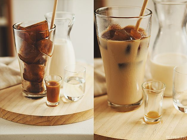 kori coffee- the espresso is frozen into ice cubes, and served with milk, corn syrup, and even a shot of KahluaKahlua Korie, Corn Syrup, Recipe Ideas, Iced Coffee Recipes, Frozen Coffee, Ice Coffee Recipe, Ice Cube Trays, Korie Coffee, Ice Cubes Trays