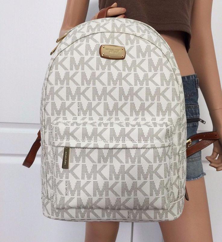 Michael Kors Large Backpack Book Bag Monogram MK PVC Leather Bag Purse school #MichaelKors #BackpackStyle