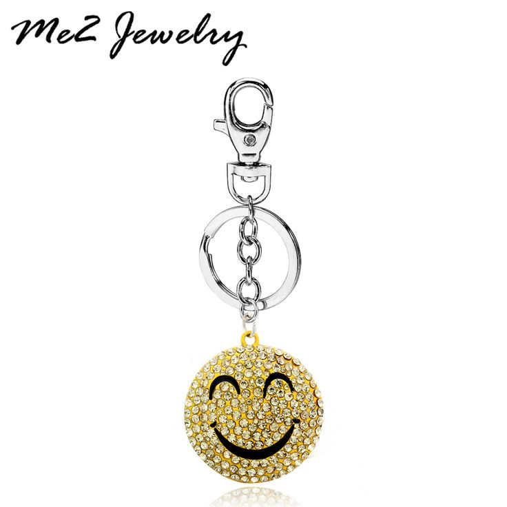 Crystal Smile Face Keychain Pretty Pendant HandBag Keyring Silver Plated Key chain For Car Key Holder Free Shipping