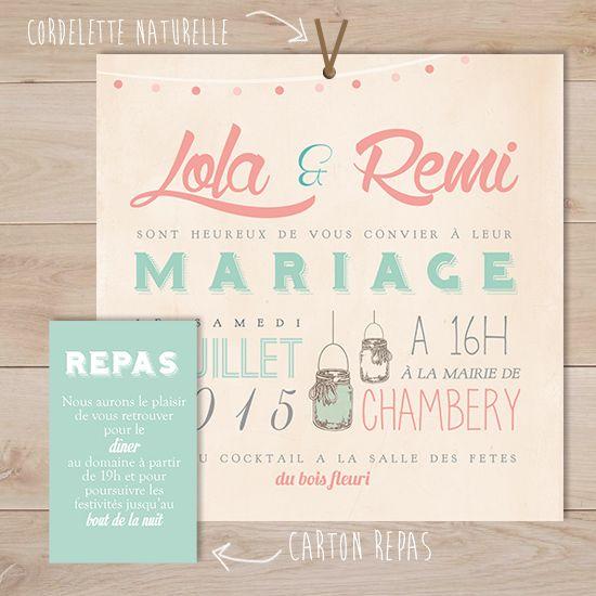 faire part mariage vintage mason jar | Sweet Paper