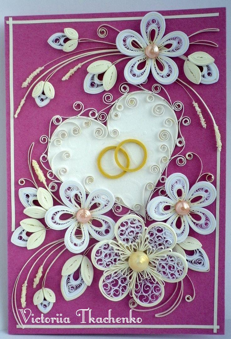Квиллинг свадьба открытки, картинки про
