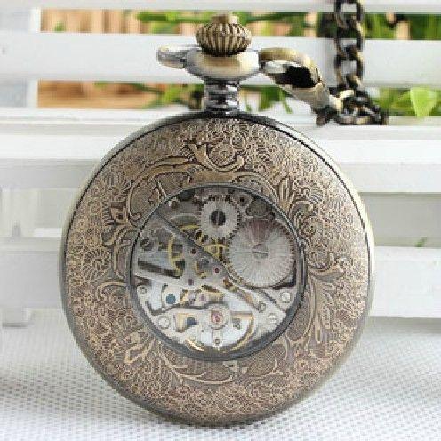 Vintage wrist watch — Men's Retro ancient bronze Zodiac mechanical pocket watch (WAT0072)