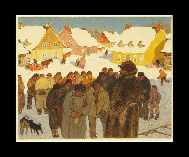 Clarence Gagnon (1881 - 1942), Napoleon Laliberte Reports Village News, 1928 - 1933
