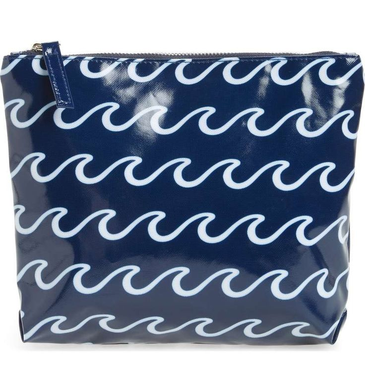 Beachy waves refresh this water-resistant zip-top pouch sized to hold everything you need at the pool or the shore—from cards and cash to your smartphone and makeup. | #nautical #fashion