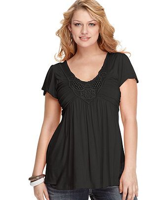 Soprano Plus Size Top, Flutter-Sleeve Ruched Embellished - Plus Size Tops - Plus Sizes - Macys
