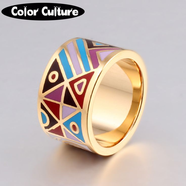 The New High-end Retro Elegant Classic Stainless Steel Big Rings for Women 1.3cm Designers Popular Jewelry Enamel Ring