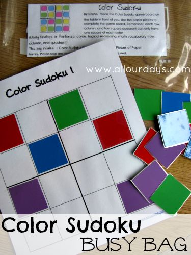 Color Sudoku Busy Bag (Activity Bag) You could buy coloured stickers to make life easier - the coloured stickers could be in different shapes to make the sudoku harder. Later you could try Sudoku with letters instead of colours