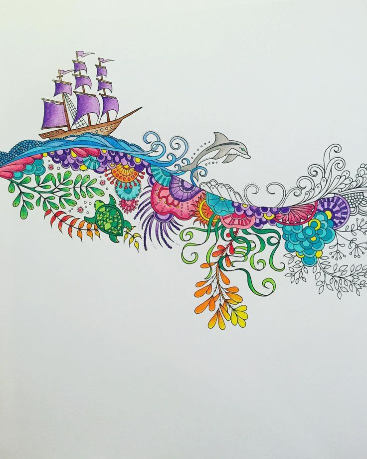 Lost Ocean Johanna Basford Done With Prismacolour Adult ColoringColoring BooksJoanna