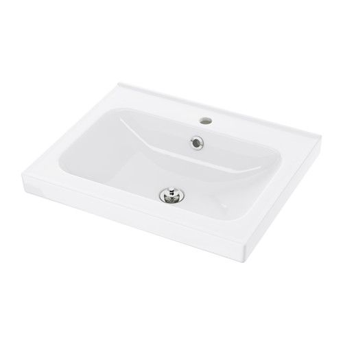 IKEA - ODENSVIK, Single wash-basin, 60x49x6 cm, , 10 year guarantee. Read about the terms in the guarantee brochure.The included water trap is easy to connect to the drain, washing machine and dryer because it is flexible.Unique water trap design gives room for a full sized drawer.