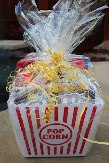 End of the Year Teacher Gift!!! Movie Night Gift Bucket!!! A dollar store popcorn bucket, tons of movie candy, popcorn, a gift card to a movie theatre, and a card from your little one.
