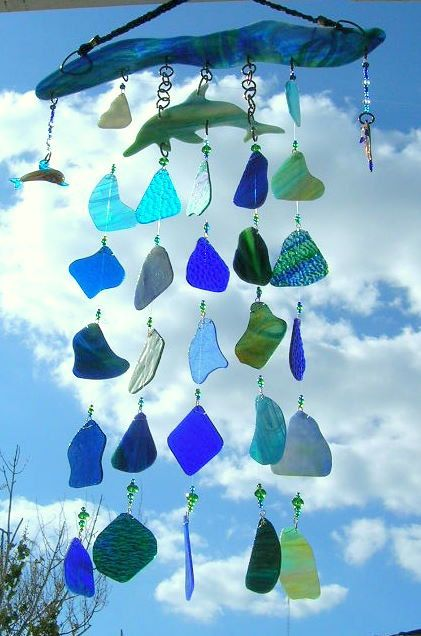 Dolphin Glass Wind Chime~~~