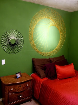 Love!  My spirograph doodles all grown up!  Nine Red: How To: String Wall Art