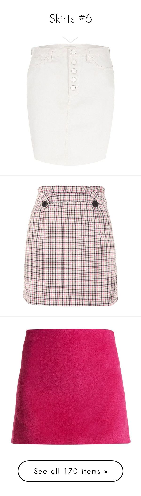 """Skirts #6"" by webuildbridgesnotwalls ❤ liked on Polyvore featuring skirts, mini skirts, cream, women, high waisted denim mini skirt, short mini skirts, high-waist skirt, high waisted denim skirt, short skirt and checkered mini skirt"
