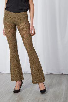 Pantaloni Flare in Guipure<br>Cachi