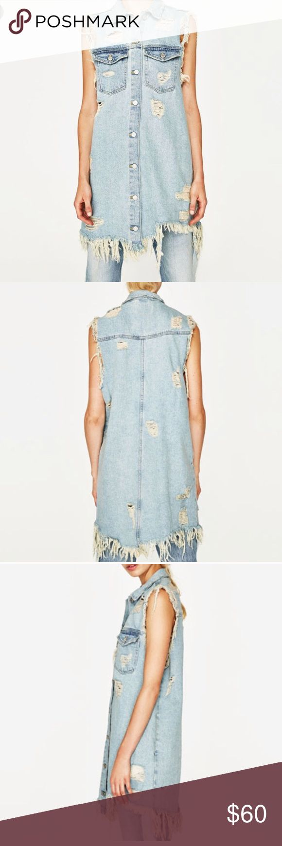Zara Denim Dress Zara Denim Waistcoat Dr…