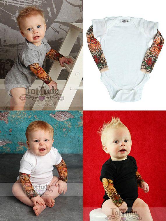 Rockabilly Tattoo Body - longue manches Tattoo - Punk Rockabilly chemise - chemise de crâne de bébé - vêtements - Punk Rock Baby