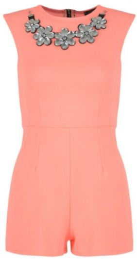Coral daisy chain playsuit