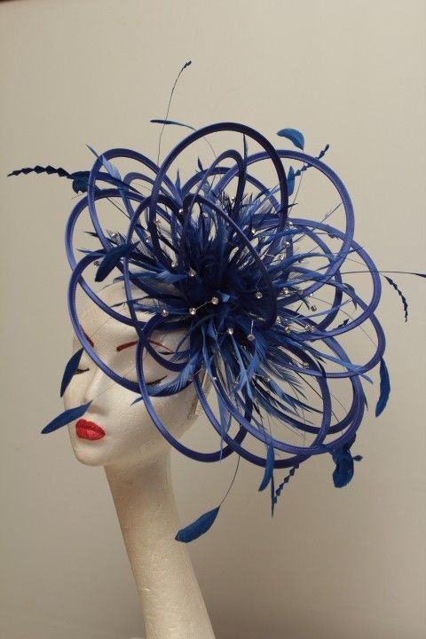 fascinator--kittens_clothing on Etsy Royal Blue Rhinestone Diamante Fascinator Satin or Feather
